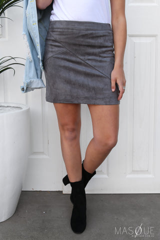 agrarian suede skirt in grey