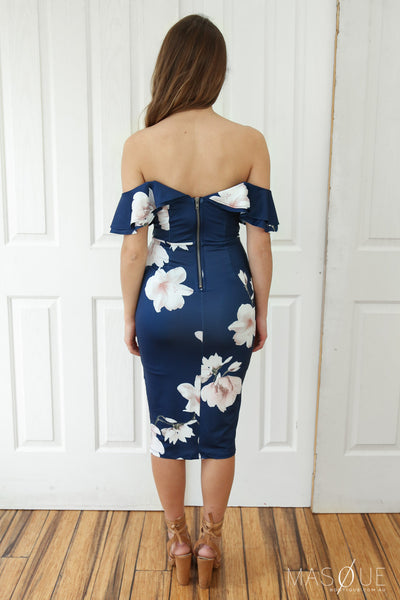 anabelle off the shoulder dress in navy floral