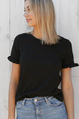basic frill tee in black