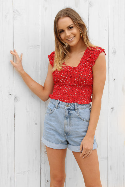 cherie top in red