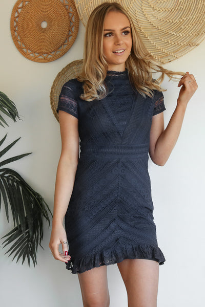passion lace dress in navy