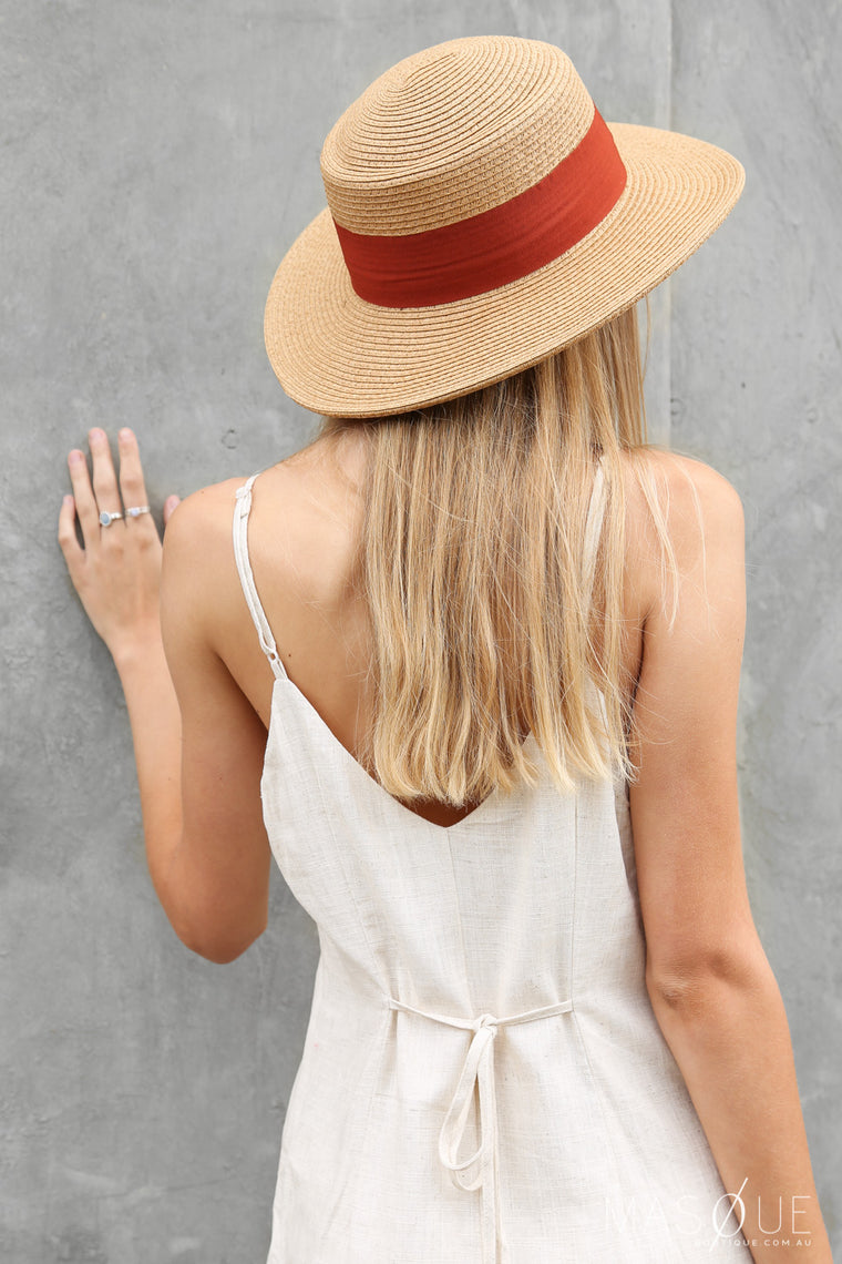 heather straw hat in rust