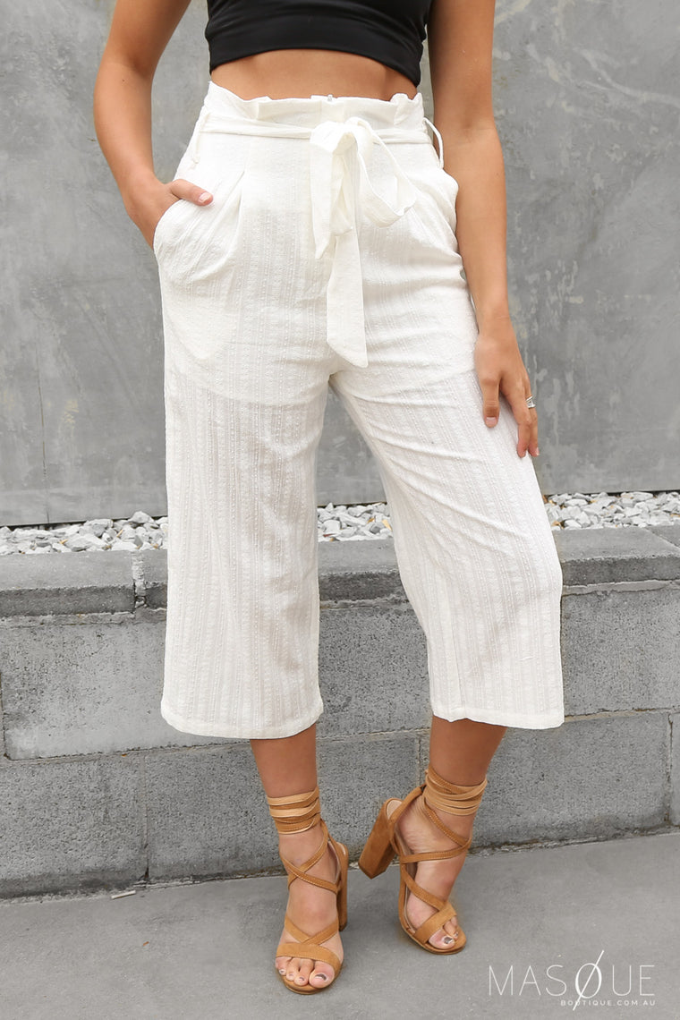 junction culottes in white