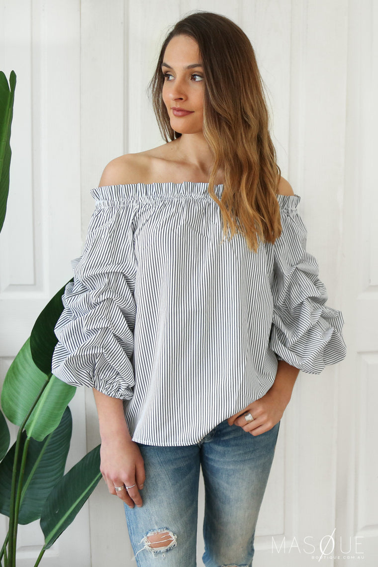 peta off the shoulder top in stripe
