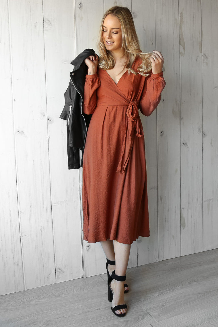 distance wrap dress in rust