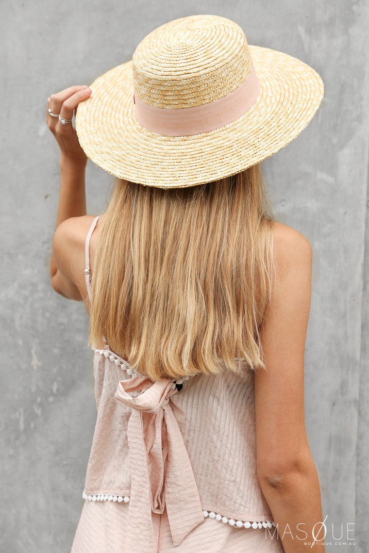 sweet straw hat in blush