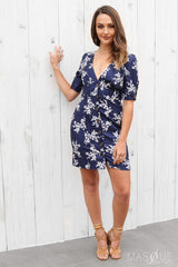 cece dress in navy floral