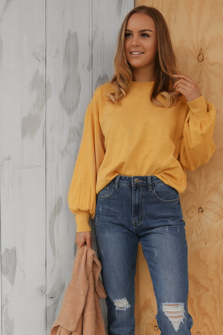 molly basic knit sweater in mustard