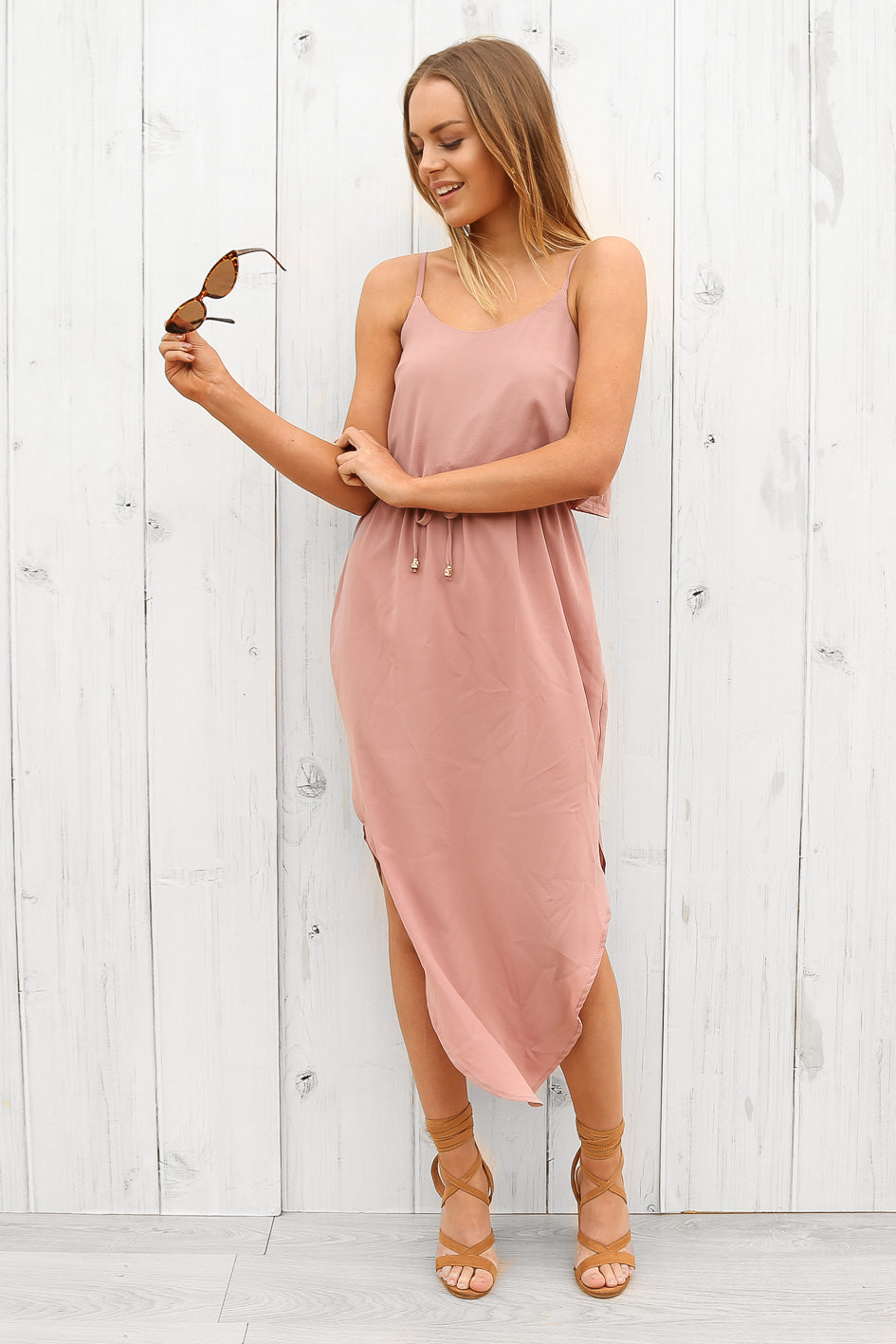 tessa midi dress dusty pink