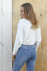 indi ribbed jumper in white
