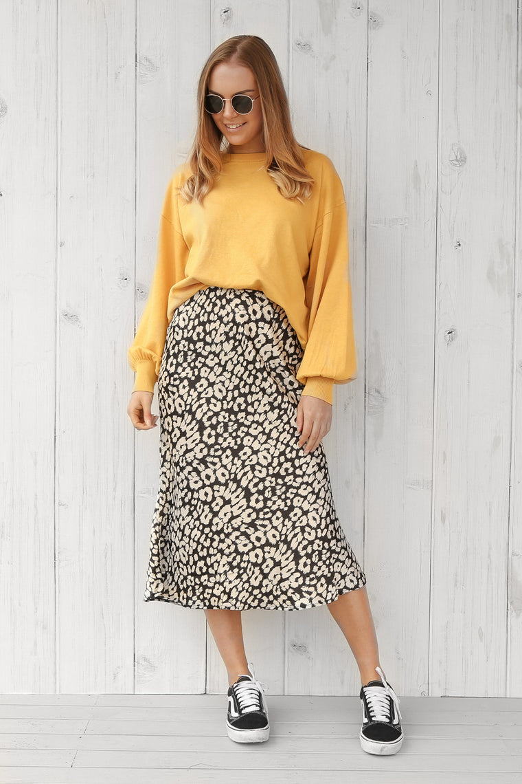 archie midi skirt in leopard