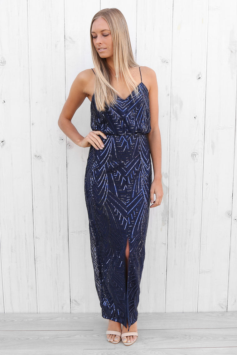 holly sequin maxi in navy by lumier