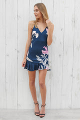 bree floral dress in navy