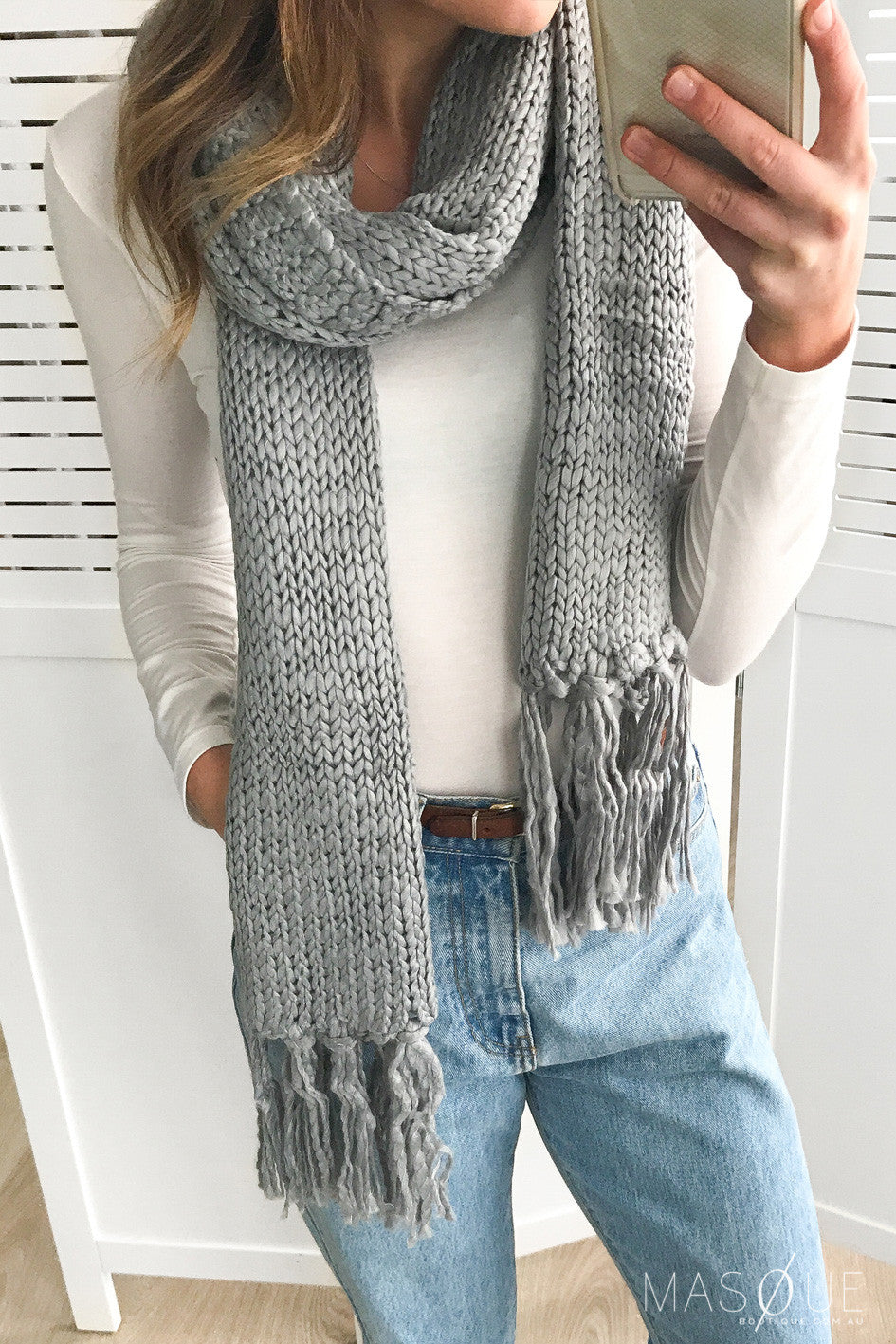 marigold scarf in dove grey