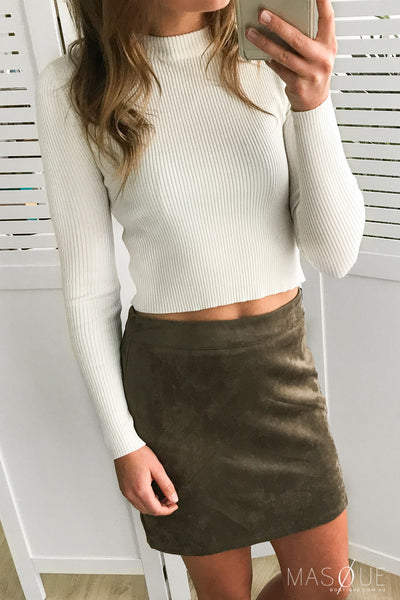 agrarian suede skirt in khaki