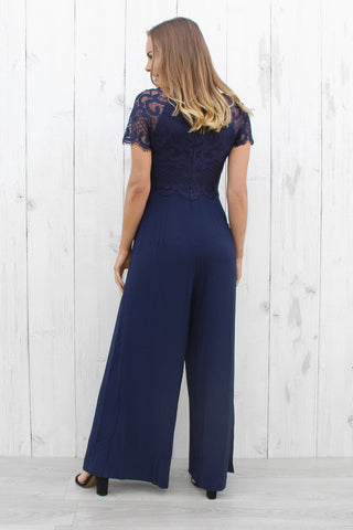 bright side lace jumpsuit in navy