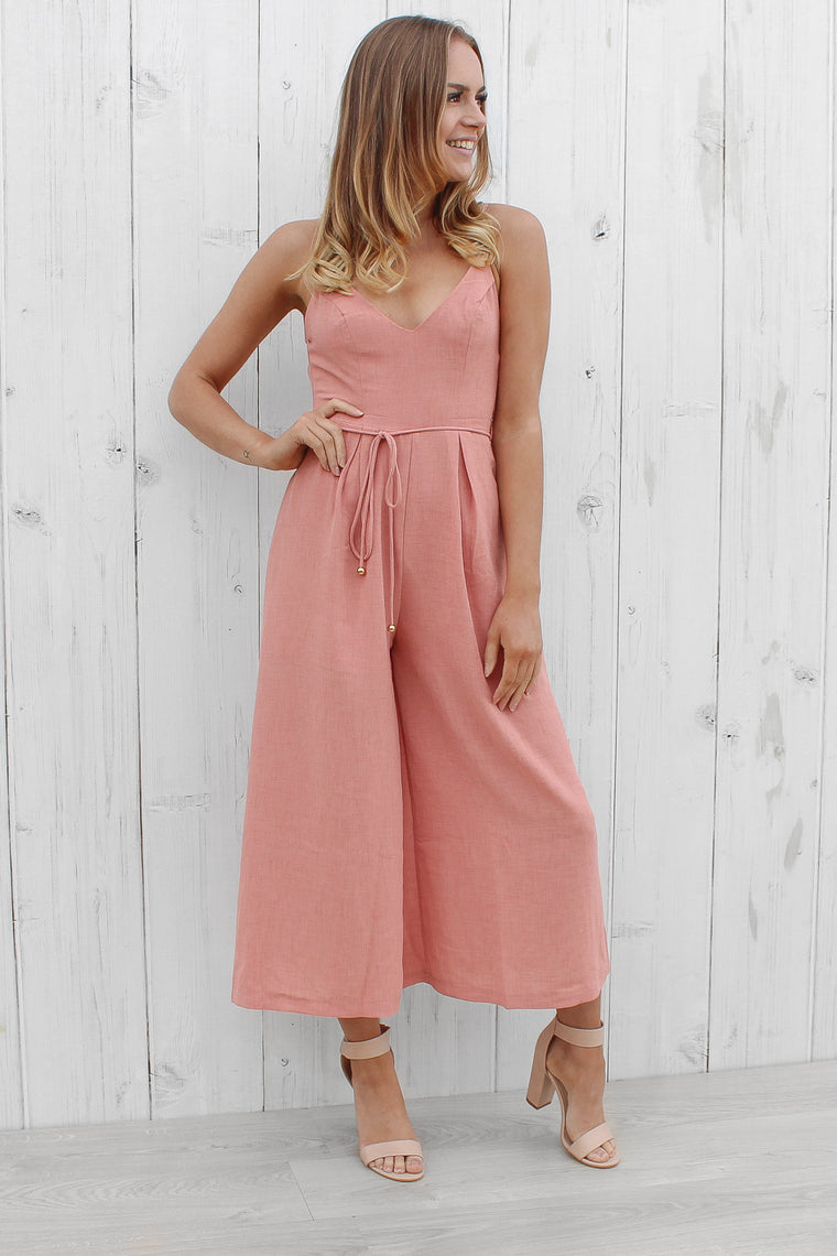 still standing jumpsuit in pink
