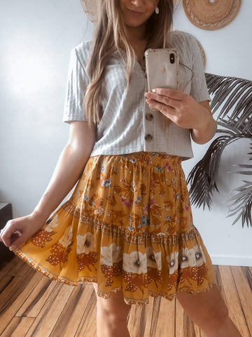 peachy skirt in mustard floral