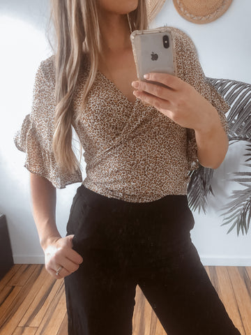 manic top in leopard