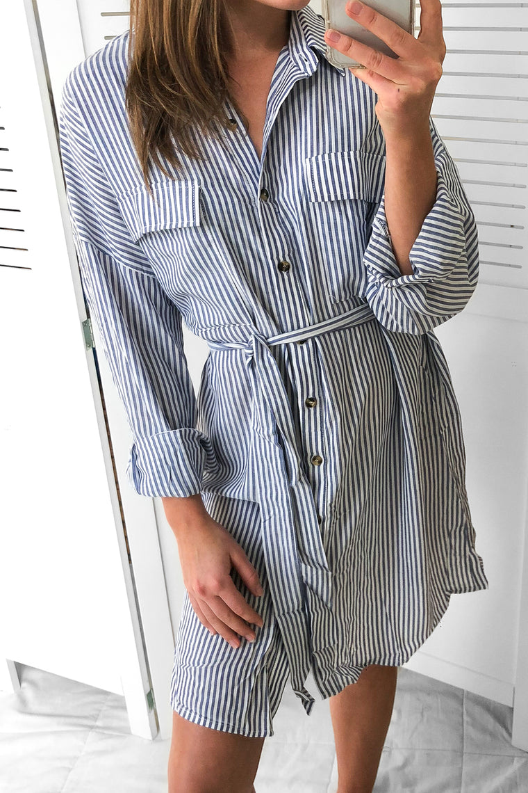 balinese striped shirt dress