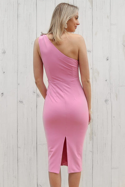 birdy one shoulder dress in pink