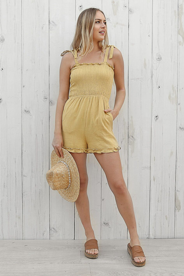 hello playsuit in mustard