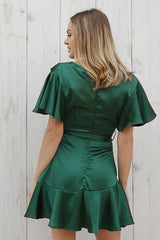jade wrap dress in forest green