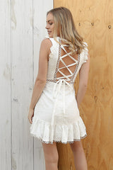lana lace mini dress in white