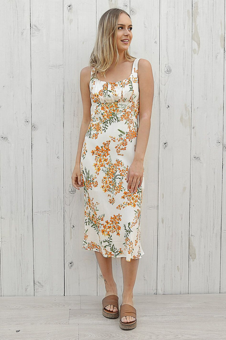 lexi floral midi in orange