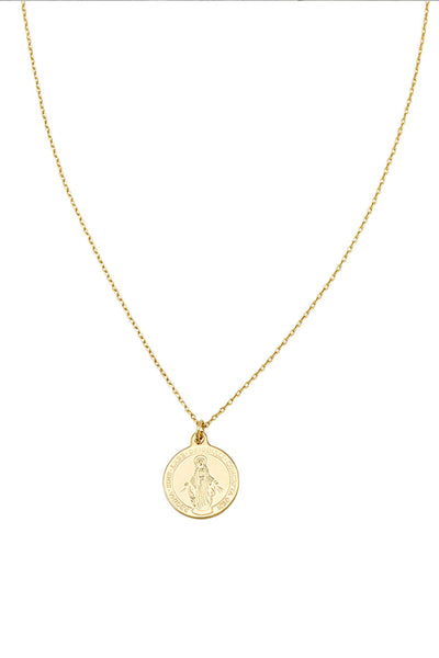 mary coin necklace in gold