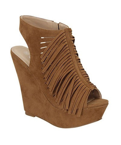 Tan Fringe Wedges