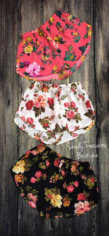 Floral Shorts (black, coral, ivory)