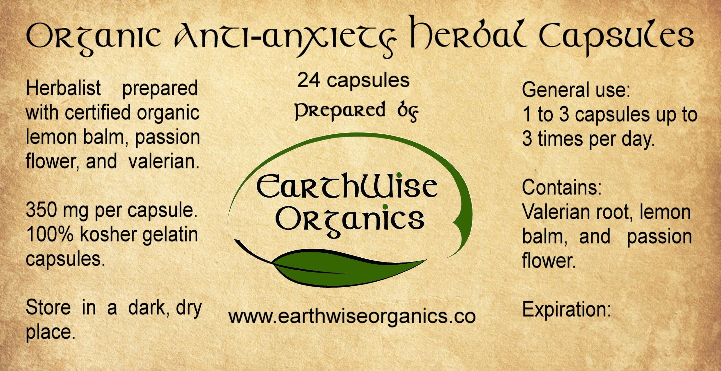 anxiety organic herbal capsules label