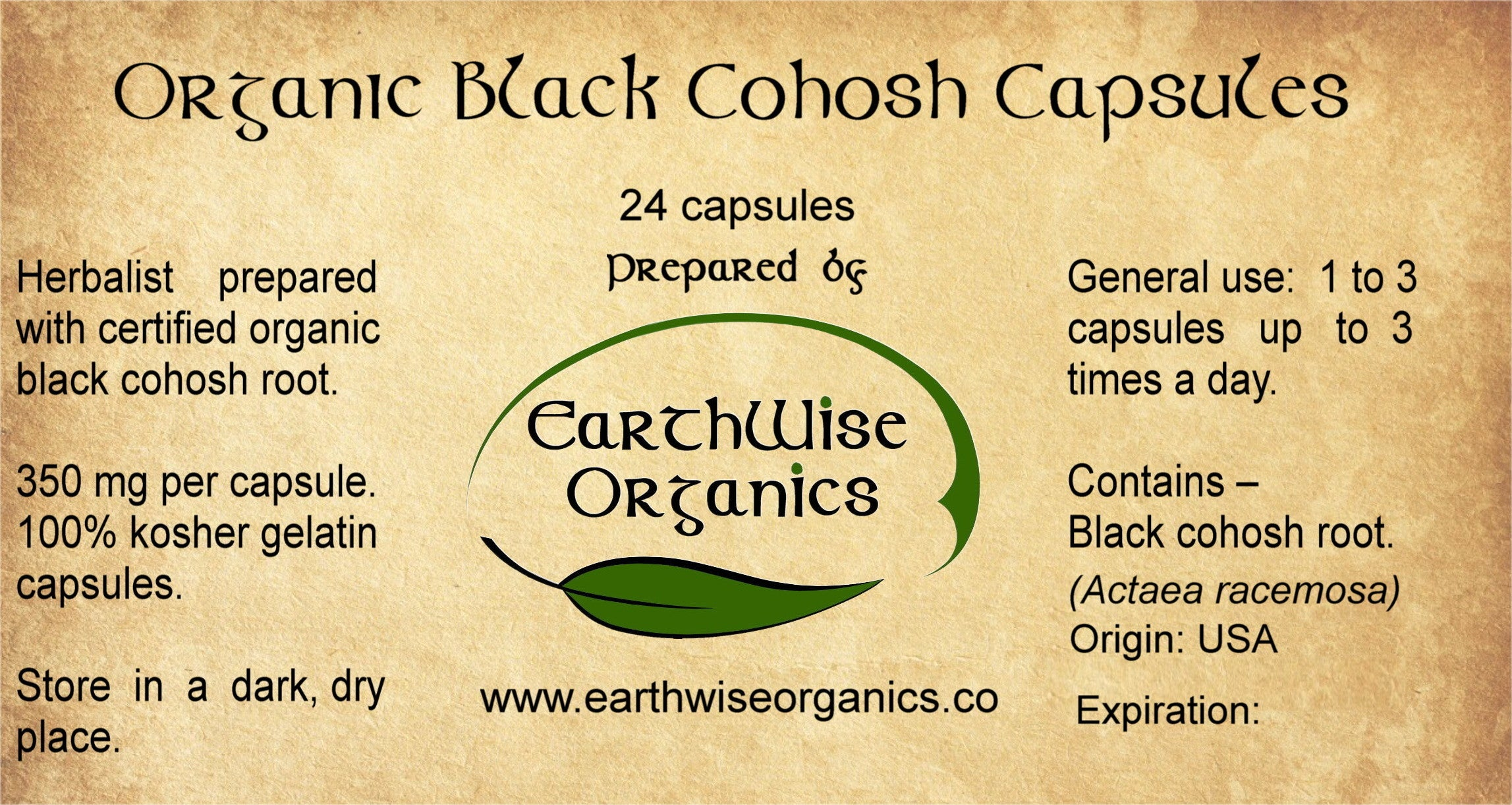black cohosh organic herbal capsules label