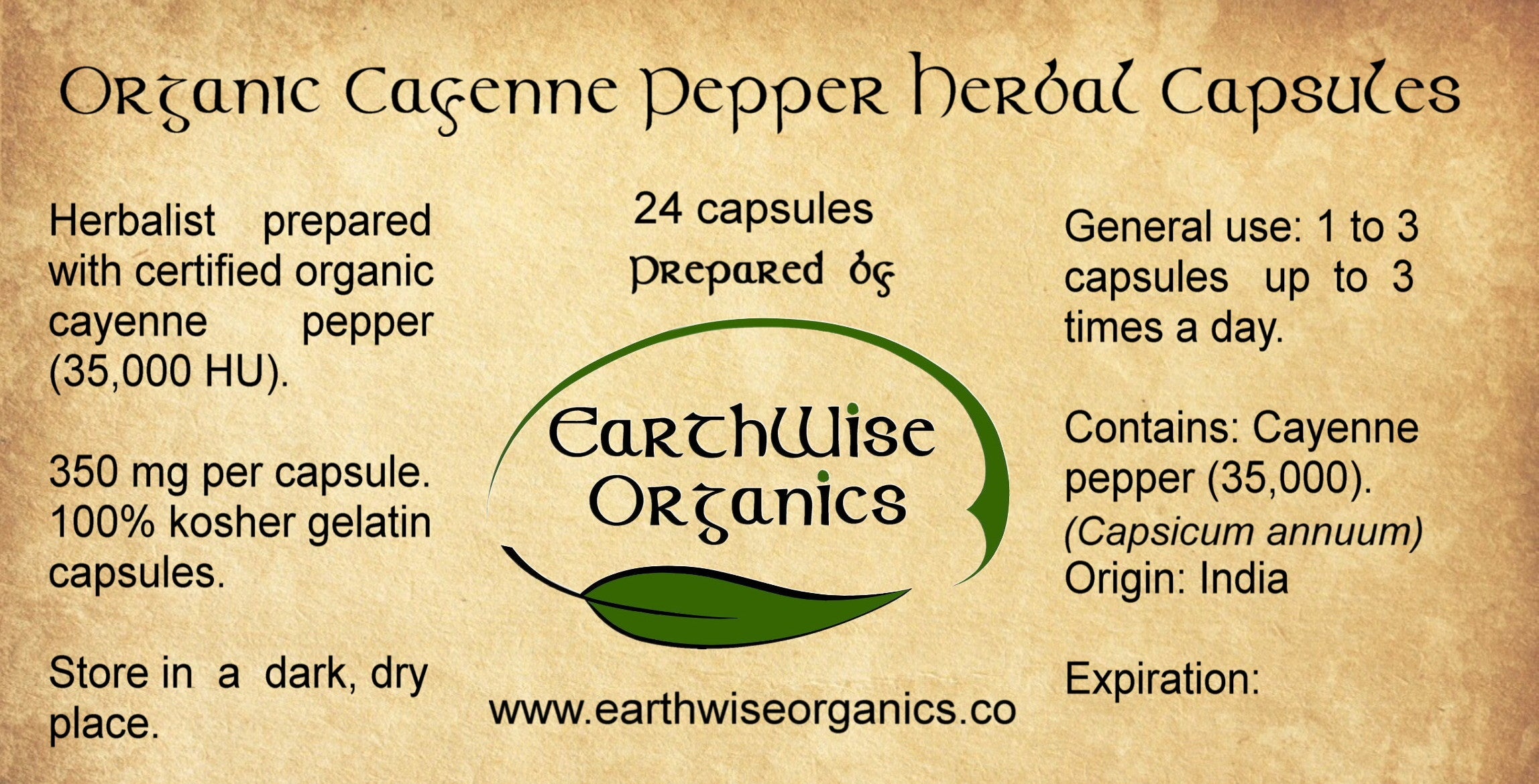 cayenne organic herbal capsules label