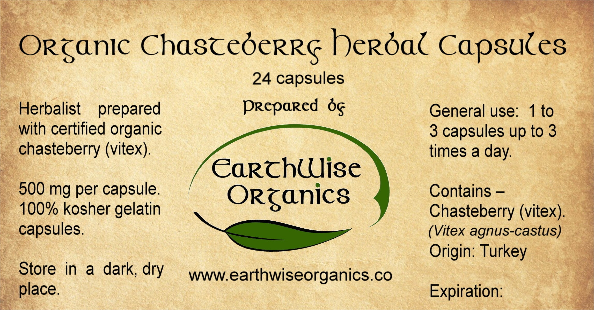 chasteberry organic herbal capsules label