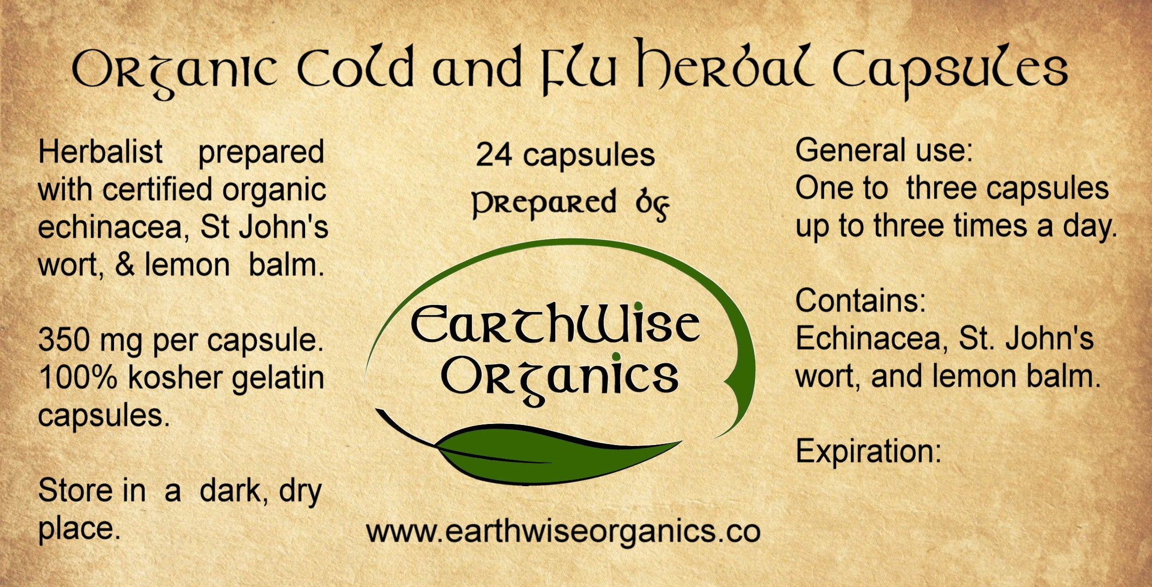 cold and flu organic herbal capsules label
