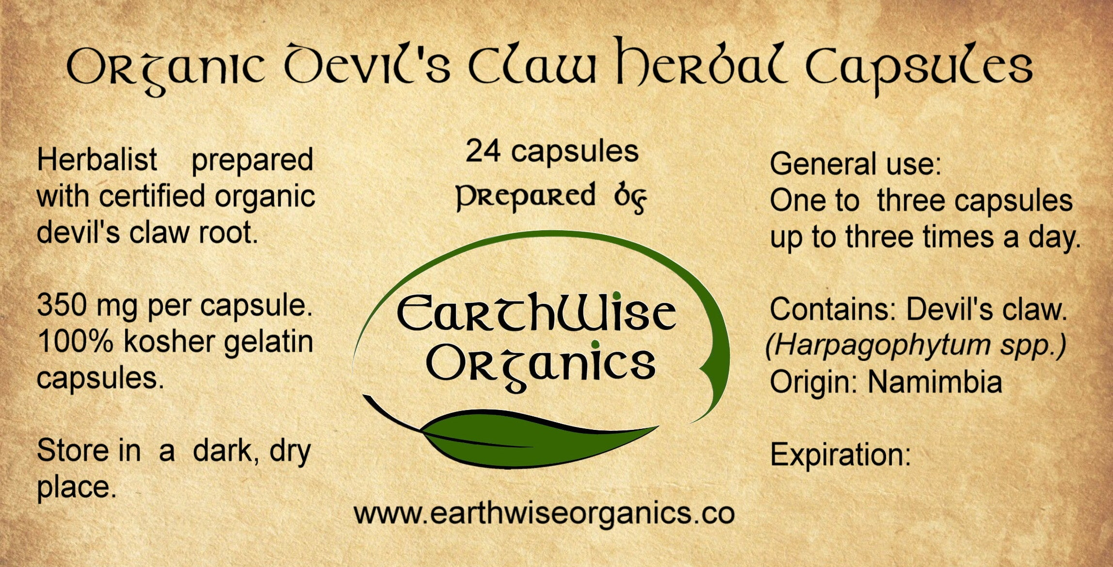 devil's claw organic herbal capsules label