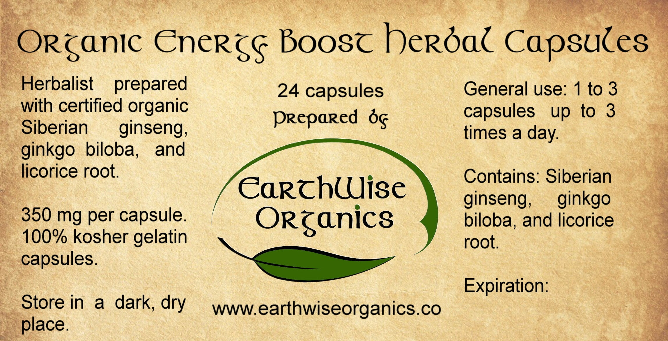 energy boost organic herbal capsules label