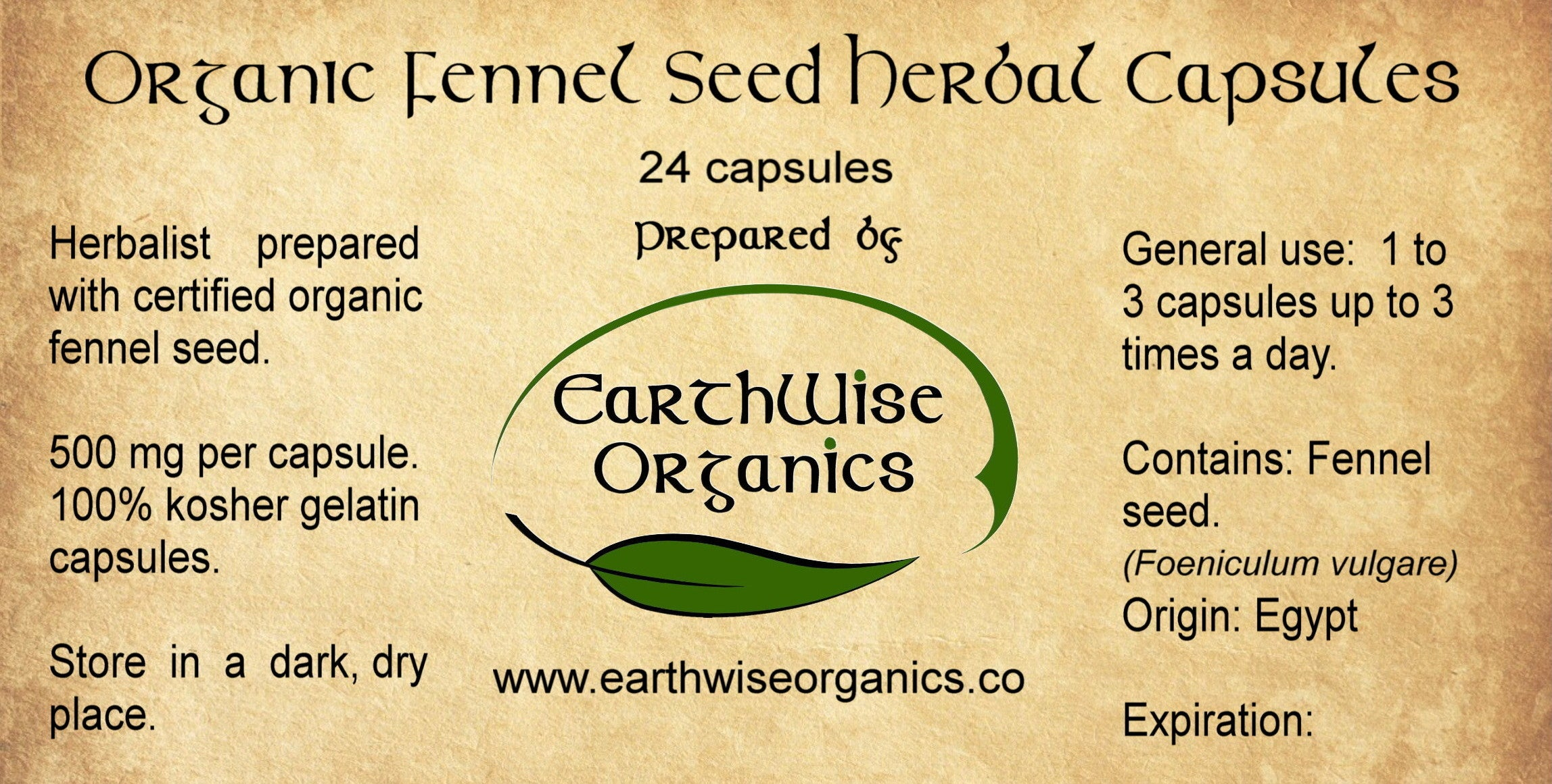 fennel seed organic herbal capsules label