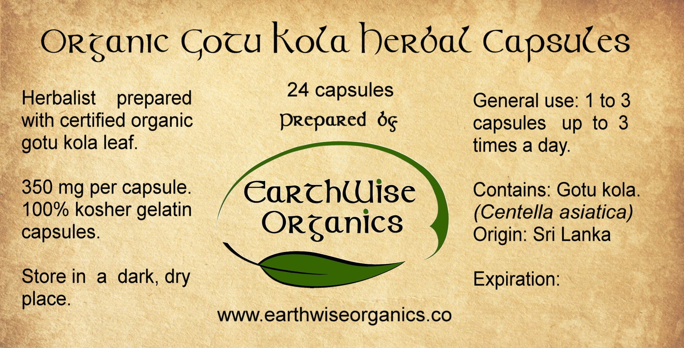 gotu kola organic herbal capsules label