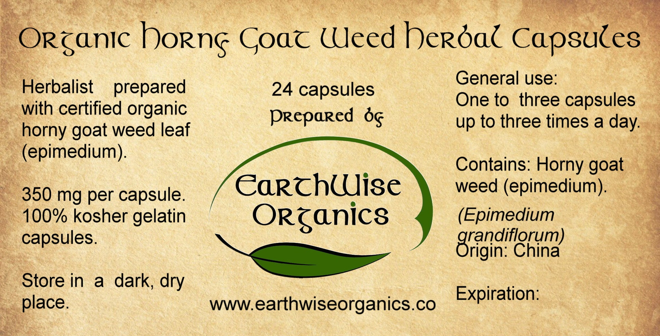 horny goat weed organic herbal capsules label