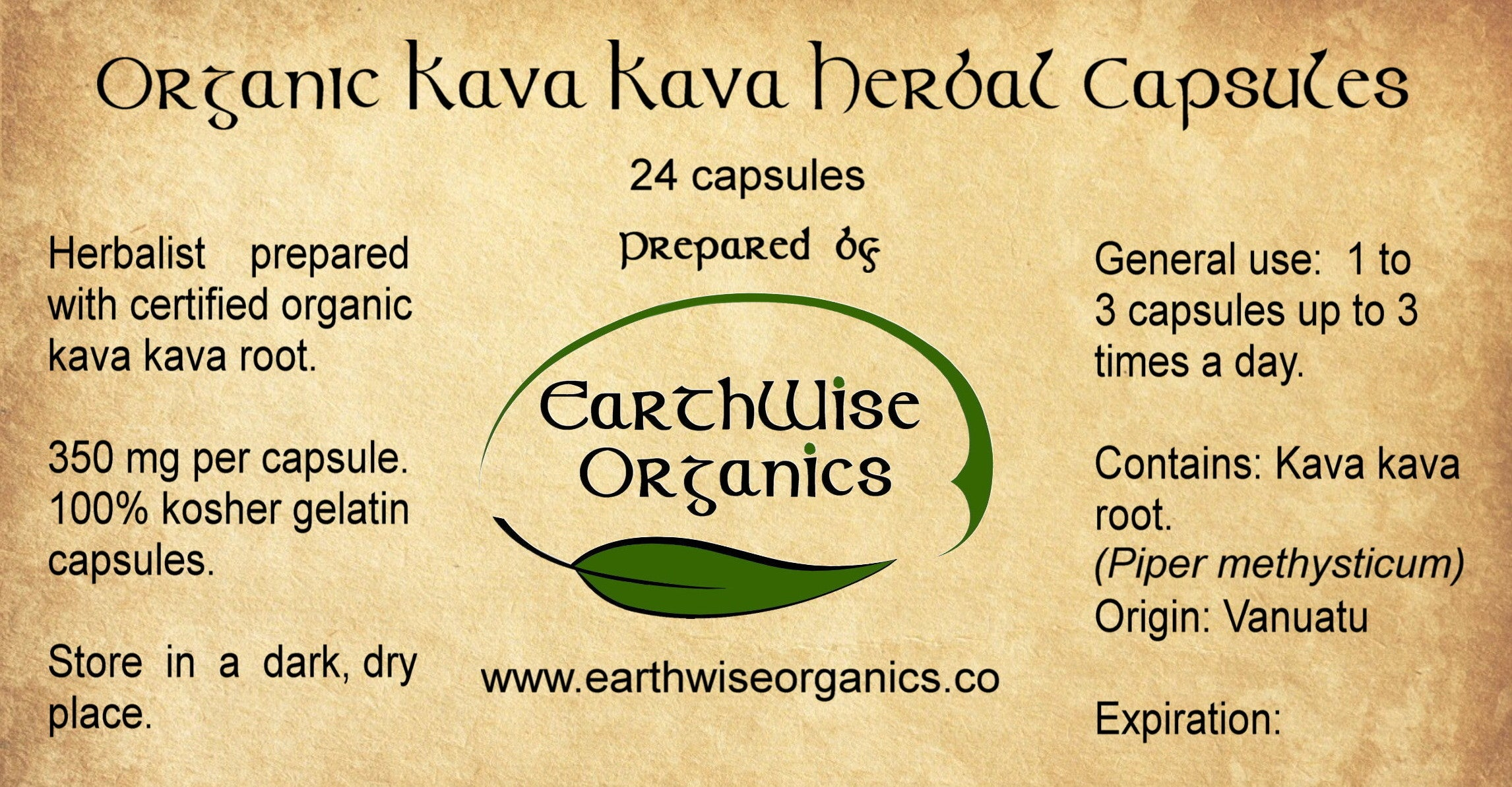 kava kava organic herbal capsules label