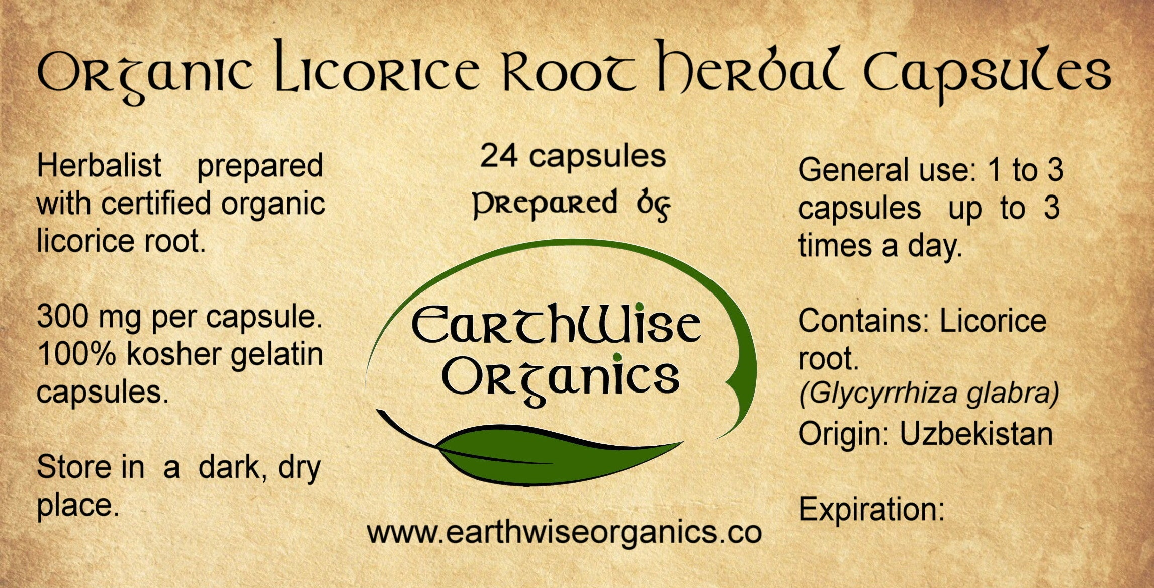 licorice root organic herbal capsules label