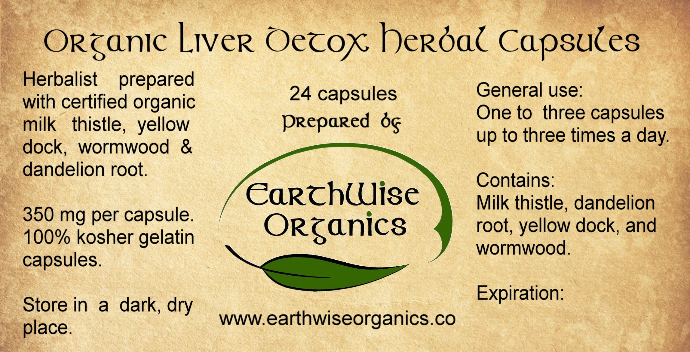 liver detox organic herbal capsules label