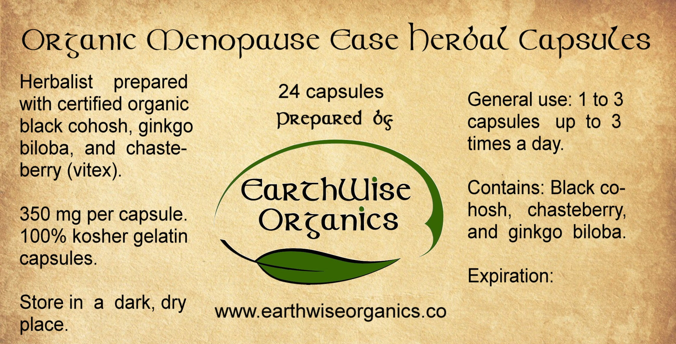 menopause ease organic herbal capsules label