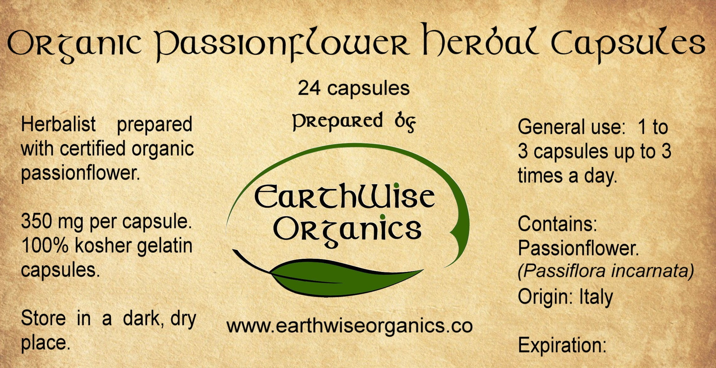 Passionflower organic herbal capsules label