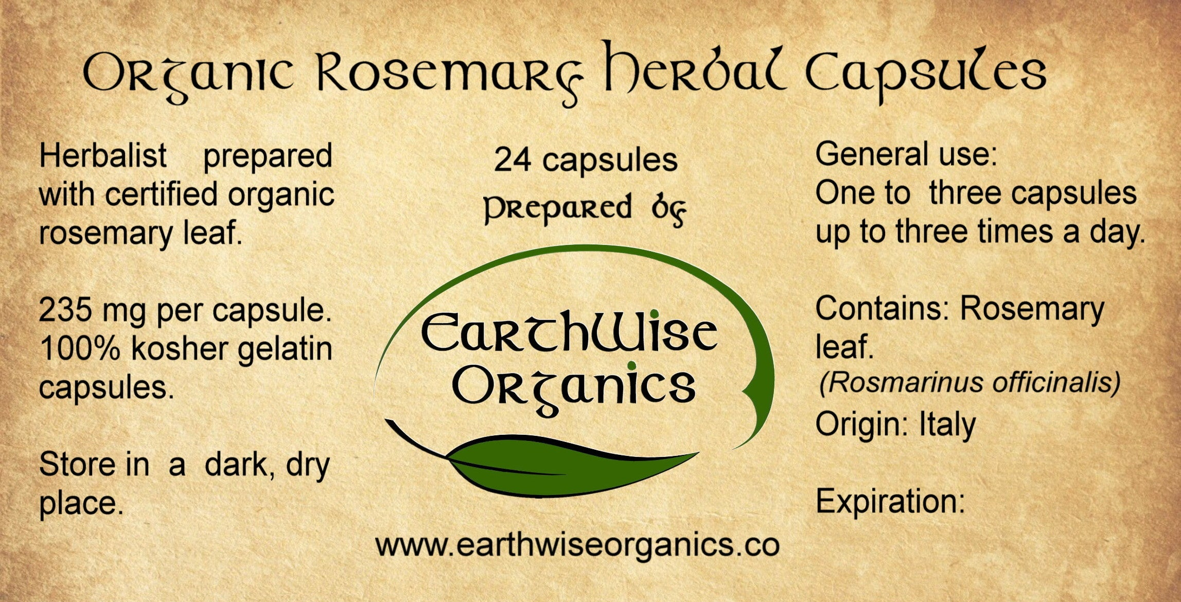 rosemary organic herbal capsules label
