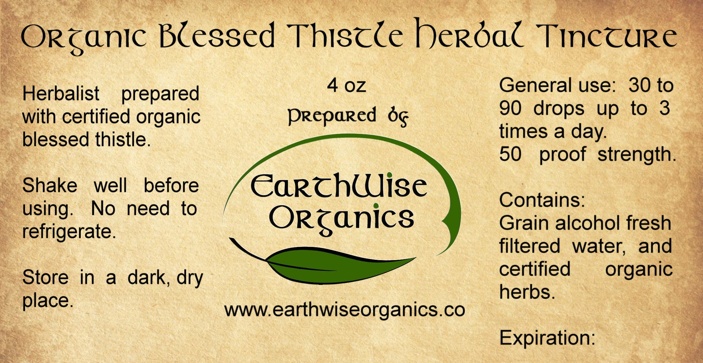 blessed thistle organic tincture label