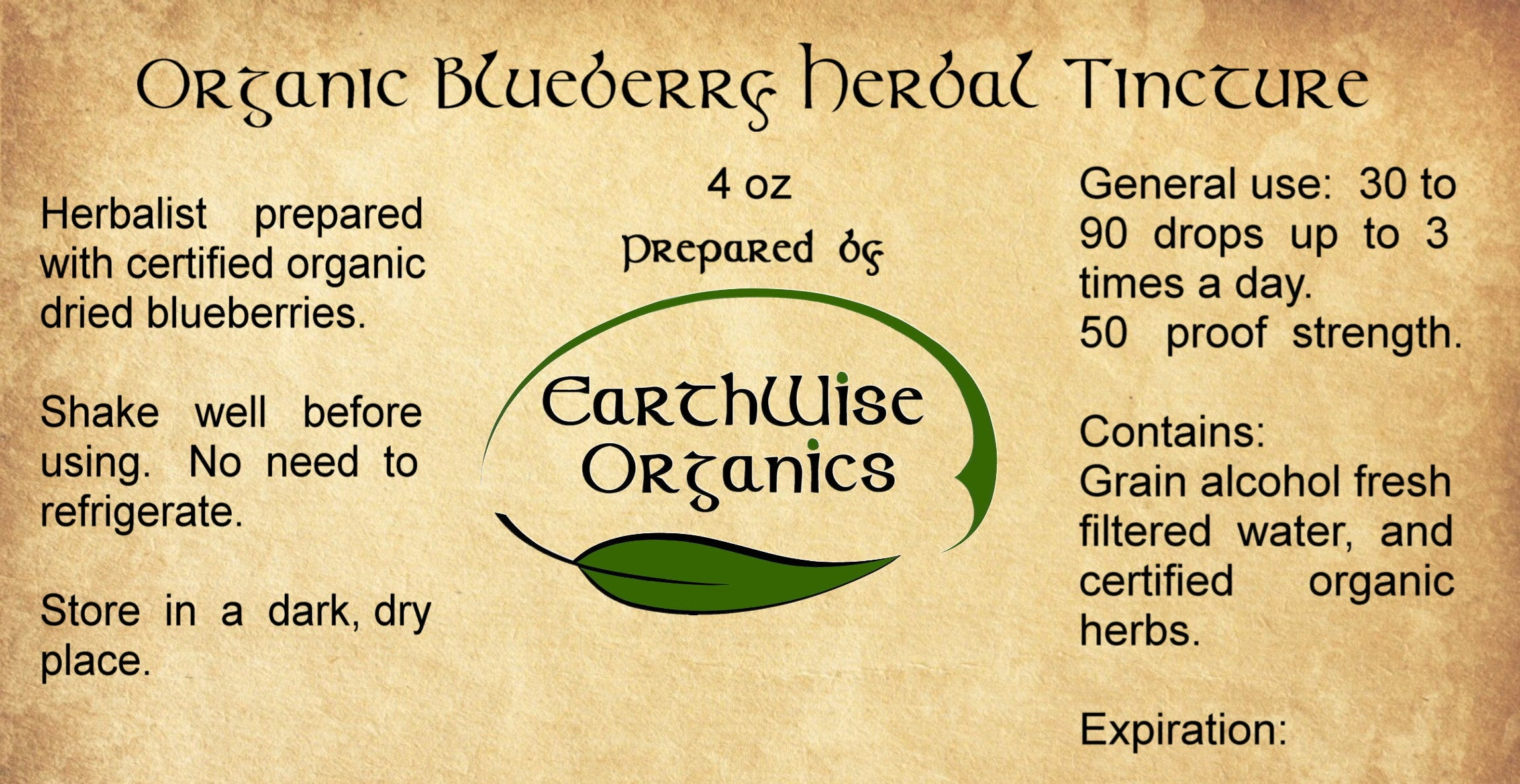 blueberry organic herbal tincture label